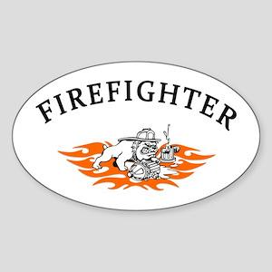 Firefighter Bull Dog Tough Sticker (Oval)