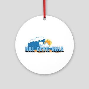 Kill Devil Hills NC - Waves Design Ornament (Round