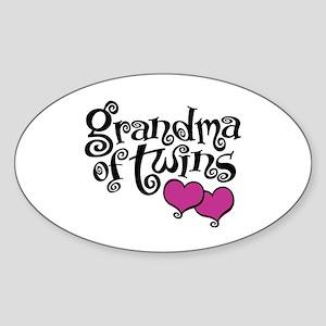 Grandma Of Twins Sticker (Oval)