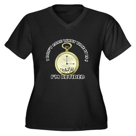 I'm Retired Women's Plus Size V-Neck Dark T-Shirt