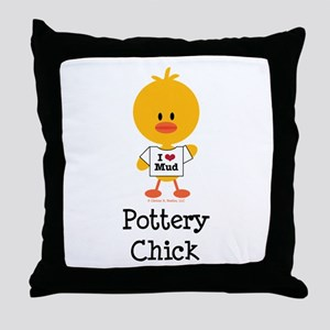 Pottery Chick Throw Pillow