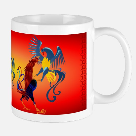 Two Colorful Fighting Rooster Mug