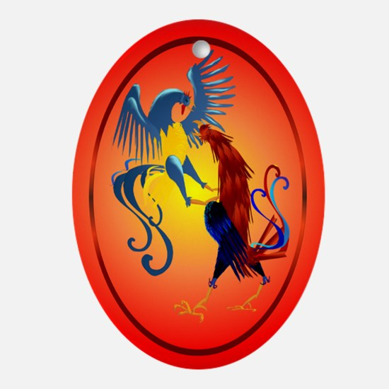 Two Colorful Fighting Rooster Ornament (Oval)