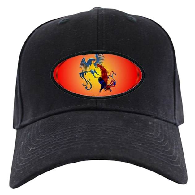 Two Colorful Fighting Rooster Baseball Hat By Lotacatspix