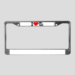 I love 69 License Plate Frame
