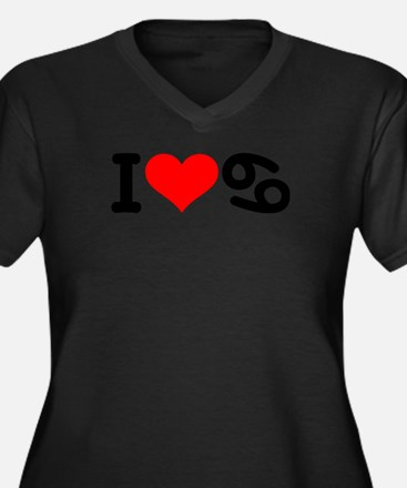 I love 69 Women's Plus Size V-Neck Dark T-Shirt