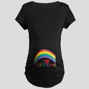 I Love Rainbows Maternity Dark T-Shirt