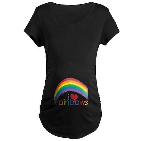 I Love Rainbows Maternity Dark T-Shirt