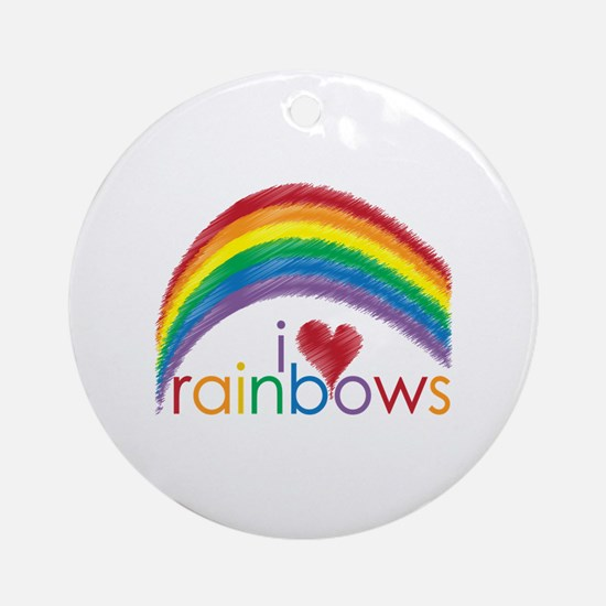 I Love Rainbows Ornament (Round)