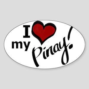 """I Love my Pinay!"" Oval Sticker"