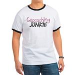 Geocaching Junkie - Pink Ringer T