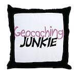 Geocaching Junkie - Pink Throw Pillow