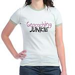 Geocaching Junkie - Pink Jr. Ringer T-Shirt