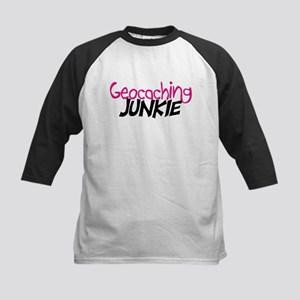 Geocaching Junkie - Hot Pink Kids Baseball Jersey
