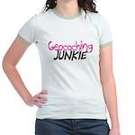 Geocaching Junkie - Hot Pink Jr. Ringer T-Shirt