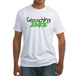 Geocaching Junkie - Green Fitted T-Shirt