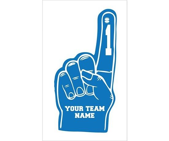 Your team foam finger sticker rectangle