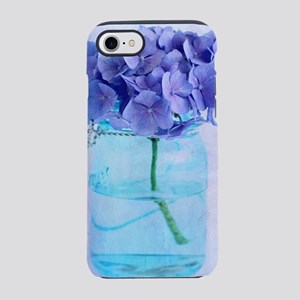 Vintage Hydrangea Blue Mason Jar iPhone 7 Tough Ca