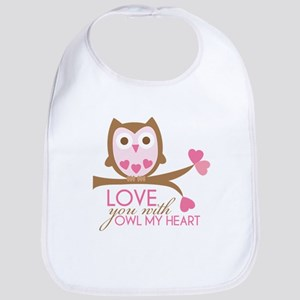 Love you with owl my heart Bib