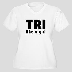 tri like a girl Women's Plus Size V-Neck T-Shirt