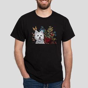 Westie Terrier in the Garden Dark T-Shirt