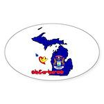 ILY Michigan Sticker (Oval 10 pk)