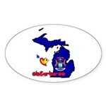 ILY Michigan Sticker (Oval 50 pk)