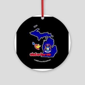 ILY Michigan Ornament (Round)