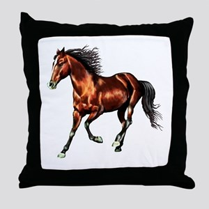Cantering Bay Horse Throw Pillow