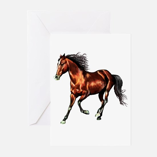Cantering Bay Horse Greeting Cards (Pk of 10)