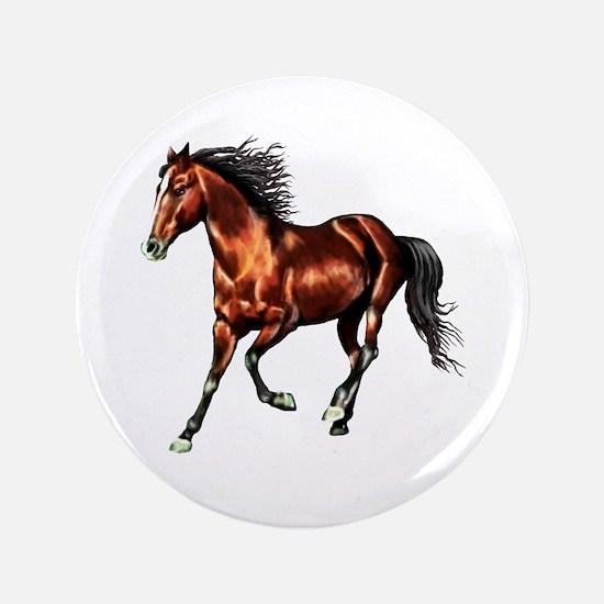 """Cantering Bay Horse 3.5"""" Button"""