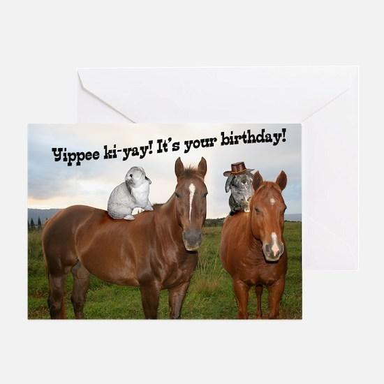 Horseback Bunnies Birthday Card