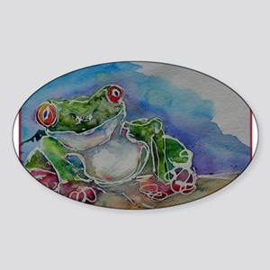 Tree Frog, Bright, Frog, Sticker (Oval)