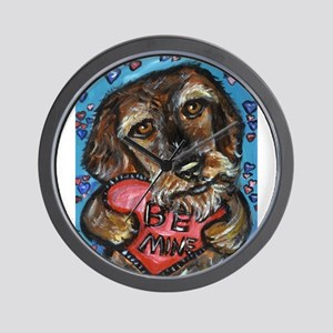 wirehaired dachshund be mine Wall Clock