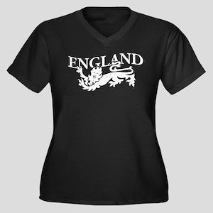 ENGLAND Lion white Women's Plus Size V-Neck Dark T