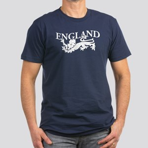 ENGLAND Lion white Men's Fitted T-Shirt (dark)