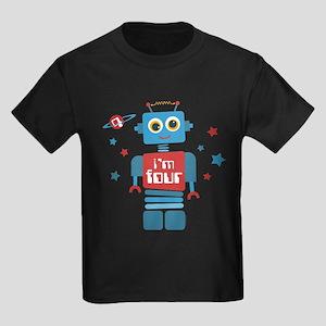 Robot 4th Birthday Kids Dark T-Shirt