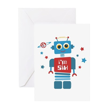 Robot 6th Birthday Greeting Card