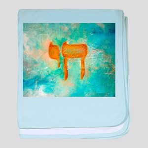 JEWISH HEBREW LETTER L'CHAYIM baby blanket