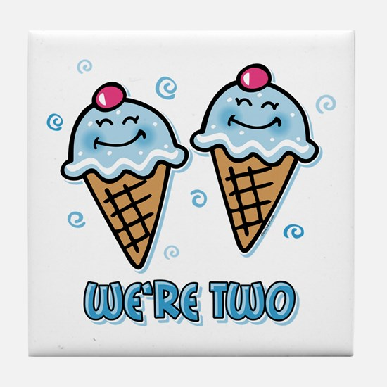 Ice Cream We're 2 Boys Tile Coaster