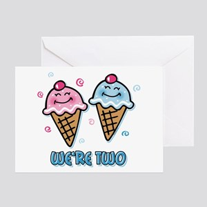 Ice Cream We're 2 Boy & Girl Greeting Card