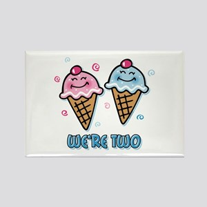 Ice Cream We're 2 Boy & Girl Rectangle Magnet