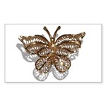 Gold Butterfly Sticker (Rectangle 10 pk)