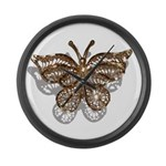 Gold Butterfly Large Wall Clock