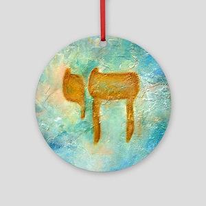 JEWISH HEBREW LETTER L'CHAYIM Round Ornament