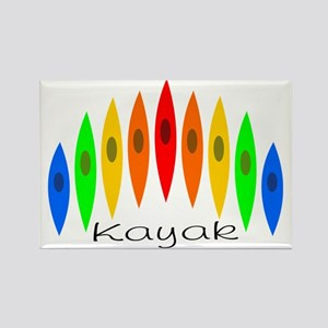 Rainbow of Kayaks Rectangle Magnet