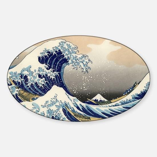 Kanagawa The Great Wave Sticker (Oval 10 pk)