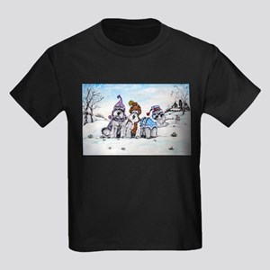 Schnauzer Winter Holiday Kids Dark T-Shirt