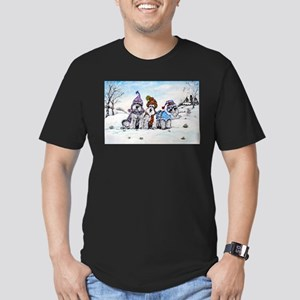 Schnauzer Winter Holiday Men's Fitted T-Shirt (dar