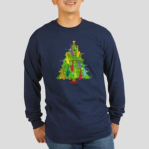 Saxophone Christmas Long Sleeve Dark T-Shirt